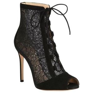 Gianvito Rossi Ankle Boots Black Suede Lace Bootie